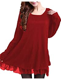 ZANZEA Women's Casual Jumpers Knit Sweater Ladies Long Sleeve Tops Pullover Evening Party Bow Dress