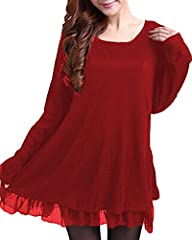 Idea Regalo - ZANZEA Donna Pizzo Maglione Maglia Maniche Lunghe Vestito Corto Elegante Casual Moda Pullover Rosso IT 56