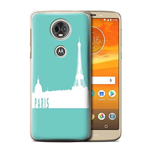 (Stuff4® Hülle/Case für Motorola Moto E5 Plus 2018 / Paris/Türkis Muster/Stadt Skyline Kollektion)
