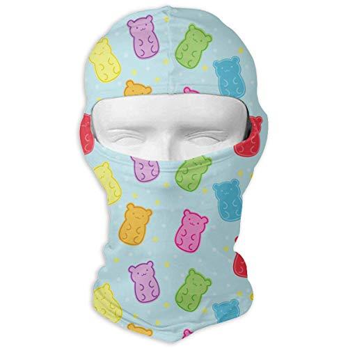 Sdltkhy Colorful Gummy Bears Stars Men Women Balaclava Neck Hood Full Gesichtsmaske Hat Sunscreen Windproof Breathable Quick Drying White