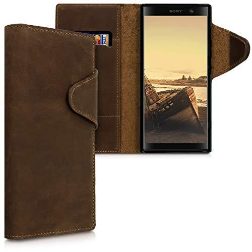 kalibri Sony Xperia XA2 Plus Hülle - Leder Handyhülle für Sony Xperia XA2 Plus - Handy Wallet Case Cover