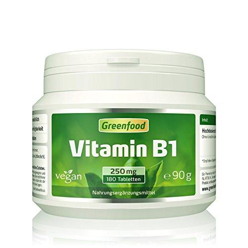 Greenfood Vitamin B1, 250 mg, hochdosiert, 180 Tabletten - für starke Nerven und hohe Konzentrationsfähigkeit. OHNE künstliche Zusätze. Ohne Gentechnik. Vegan.