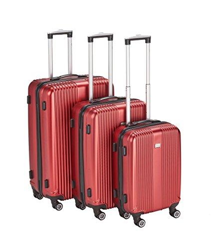 PURE Koffer SENSATION / Reisekoffer / Hartschale / Trolley / robustes PET / 4 Rollen / TSA Zahlenschloss (rot, Set)
