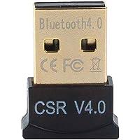 Vrinda Ultra-Mini Bluetooth CSR 4.0 USB Dongle Adapter for Windows Computer (Black:Golden)