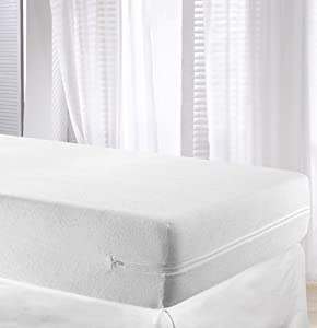 Velfont White Elastic Terry Towelling Mattress Cover