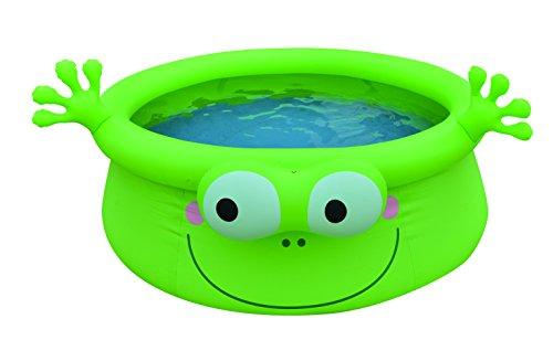 Jilong Frog Pool Ø 175 x 62 cm Quick-Up Kinderpool im Frosch Design Planschbecken Kinder Schwimmbecken Schwimmbad für Garten und Terasse