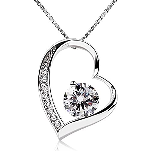B.Catcher Women Necklace Forver Love Heart Pendant Necklace 925 Sterling Silver Box Chain