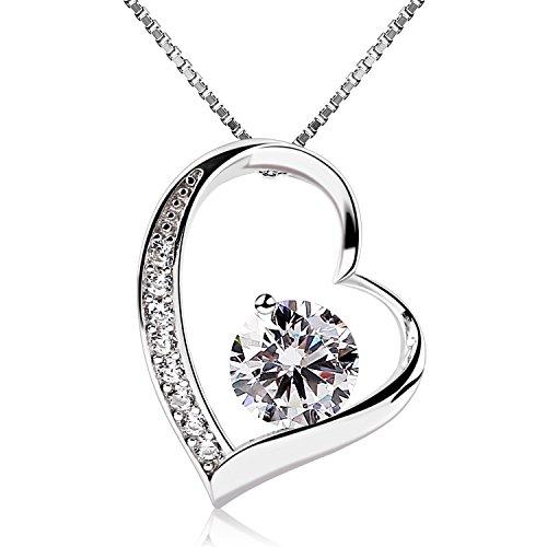 B.Catcher Herz Halskette kette Necklace Anhänger 925 Silber damen Schmuck ,,Ewig Liebe'' 5A Zirkonia 45CM Kettenlänge Geschenk