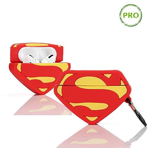 LEWOTE Coque en Silicone pour Airpods Pro Compatible avec Apple Airpods Pro Motif Dessin animé 3D [Conçu pour Les Enfants Filles et Les garçons] (Superman Badge)