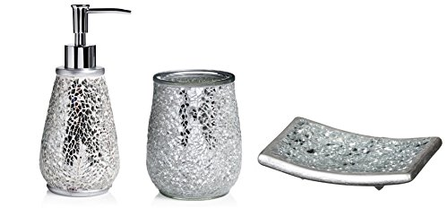 Silver Crackled Mosaic 3 piece Bathroom Accessory Set