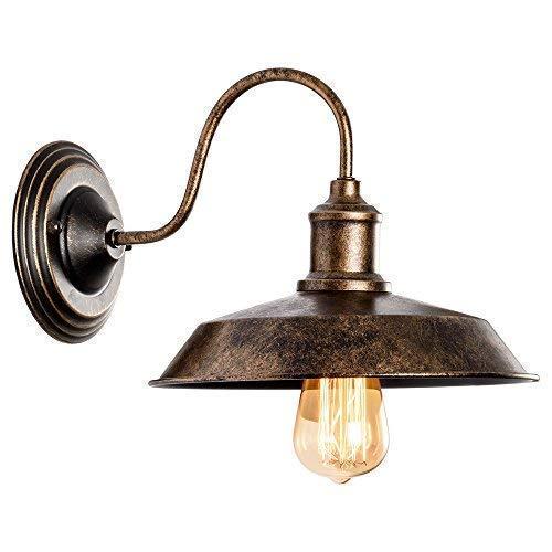 Wandleuchte RustikalWandlampe Antik Metall Wandlampe Retro Wandlampe Vintage Innen für Lanhaus, Dachboden, Terrasse, Restaurant, Café, Wohnzimmer und Studie (Gemalt Mit Öl Gerieben Bronze) - Bronze Vintage Wandleuchte