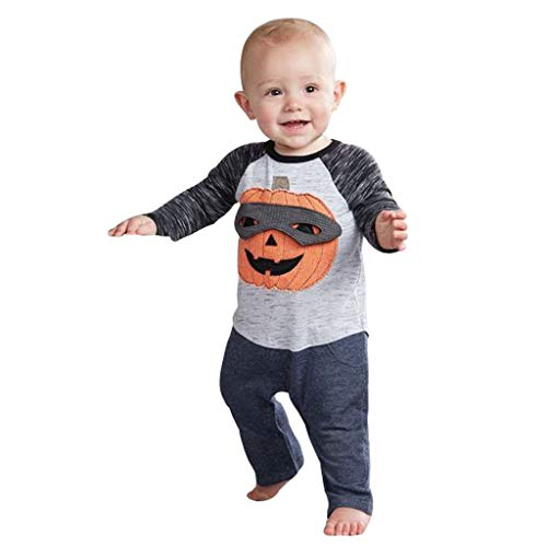 Jaysis Halloween Oberteile + Hosen, Kürbis O-Neck T-Shirt Tops Baumwolle Hosen Outfits Kostüm Set Overall Bodysuit Kleidung Set Lange Ärmel Grau (Hippie Kostüm Applique Set)