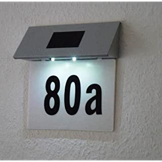 SOLAR POWERED 2 LED ILLUMINATED HOUSE DOOR NUMBER WALL LIGHT LIT UP PLAQUE