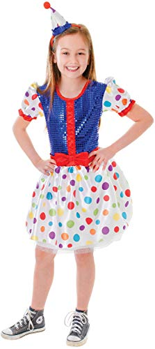 Girls Spotted Clown Charity Event TV Book Film Circus Funfair Fancy Dress Costume Outfit (7-9 years)
