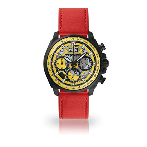 DETOMASO LIVELLO Men's Wristwatch Chronograph Analogue Quartz red Leather Strap Yellow dial DT2060-A-907