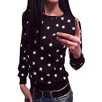 Hiroo Mujeres Impresión de la estrella Suéter Blusa corlor sólida O camisa de cuello Sudadera con capucha manga larga Blusas de algodón Jersey Camiseta suelta Ideal para la vida diaria Deportes Playa vida diaria (negro, S)