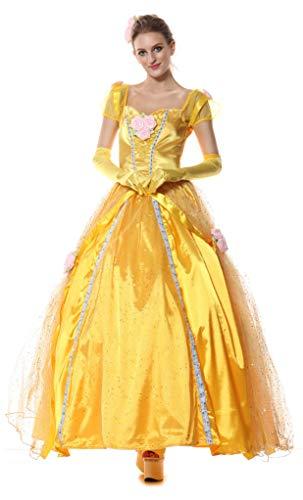 Lunghezza totale lungo donna la bella e la bestia di carnevale costume di carnevale Costume Belle Principesse
