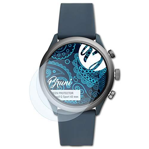 Bruni Schutzfolie kompatibel mit Fossil Q Sport 43 mm Folie, glasklare Displayschutzfolie (2X)
