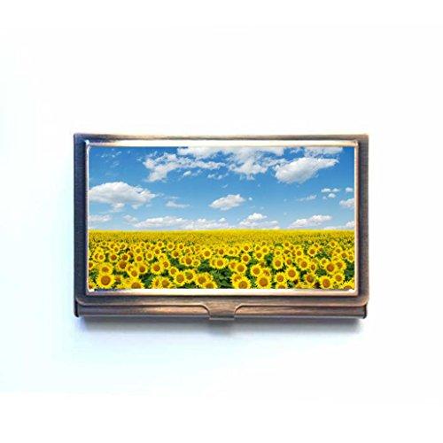 Sunflowers Field auf Sky Custom Business Bank Name Card Case Halter Bronze Box Tasche Kreditkarte ID Geldbörse