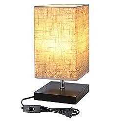 Lighting Ever Designer-Nachttischlampe, E27, mit Holzsockel, quadratisch, Lampenschirm aus Stoff, Nachttischlampe, rechteckig, schönes Licht, für Schlafzimmer, Wohnzimmer, Hotel, Café
