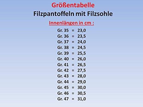 GIBRA Deutsche Filzpantoffeln mit Filzsohle, braun kariert, Gr.35-47 Braun-Kariert