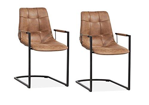 Combo Stühle Cognac, set von 2 Stuck