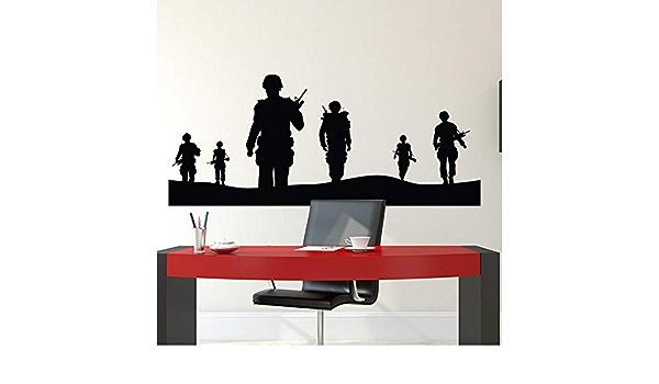 Armée soldat Autocollant Mural Garçons Chambre Vinyle Graphique Enfants Decal Sticker soldats