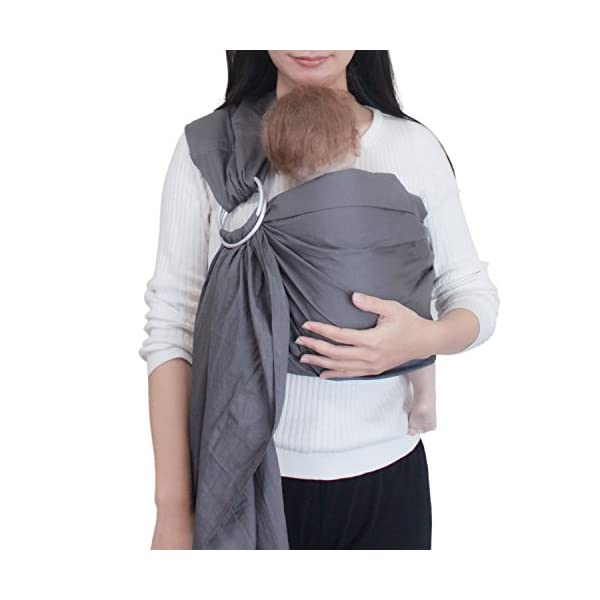 "Vlokup(TM) Wrap Original 100% Cotton Adjustable Baby Carrier Infant Lightly Padded Ring Sling Grey Vlokup 100% natural cotton.Comfortable for newborns up to 18 pounds The baby ring sling makes a deep pocket that allows for a more comfortable fit for baby and a better ""grip"" on baby's legs. Most moms find it with the less slipping problem for squirmy babies. Lightly padded Shoulder portion distributes weight through the torso and avoids straining the neck. Lightly padded railings provide the right amount of cushioning for baby's tender thighs, with no sharp edge cutting into flesh. Vlokup sling carrier has no overheating problem for baby and mother which is perfect for hot weather. 1"