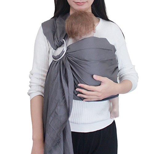 Vlokup Babytragetücher Baby-Verpackung Ring Sling Vorlage 100% Baumwolle Einstellbare Babytrage Baby leicht wattierte Grau