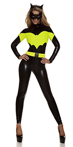 I-CURVY Costume da donna sexy da supereroe batgirl donna ragazza pipistrello tutto in uno, taglia 40-42