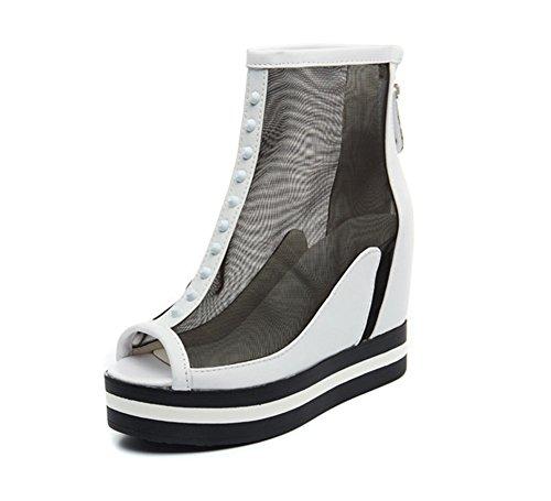 60a7557eb770 Wealsex keilabsatz sandalen damen transparent Peep Toe schuhe Weiß ...