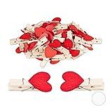 Relaxdays Lot de 48 Mini Pinces à Linge en Bois Style Vintage avec cœurs Rouge