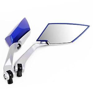 Blue PAIR UNIVERSAL MOTORCYCLE MOTORBIKE MIRRORS 10MM 8MM BIKE/MOTORBIKE REAR VIEW SIDE For Harley Honda kawasaki Suzuki Yamaha NEW