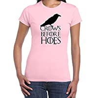 Womens Funny Sayings Slogans Novelty T Shirts-Crows Before Hoes-Game Of Thrones-Pink-Small