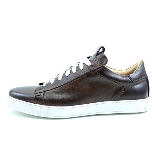 GIORGIO REA Sneakers Chaussures Sneackers Homme Marron Fait à la Main en Italie, Single Boucle, Brogues, Mocassins, Boucles, Élégant, Haute Couture