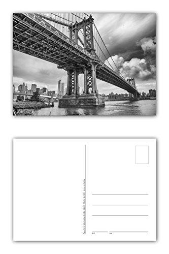 12 Stück Postkarten Manhattan Bridge New York City Hängebrücke über den East River Format: DIN A6 / 105 x 148 mm ( PKT-101 ) -