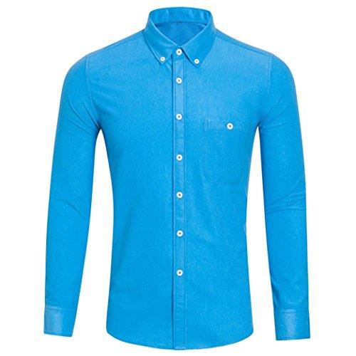 OSYARD Herren Casual Bluse mit Knopfleiste, Männer Langarm Plus Size Solide Umlegekragen Shirt...