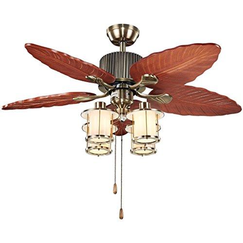 AMOS Decken-hängender Licht-Ventilator-Leuchter - 4 Kopf E27 Lichtquelle-hölzerner Ventilator-Modell Mattglas-Schatten-Decken-Lampen für Wohnzimmer-Restaurant -