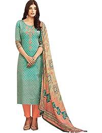 Hautewagon Women's Pure Cotton Printed Unstitched Suit With Cotton Bottom And Cotton Mal Dupatta-Women's Designer...