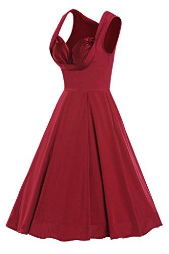 MAX MALL Damen 50s 60s Vintage kleider Polka Dots Party Abendkleid Rot-2 ...