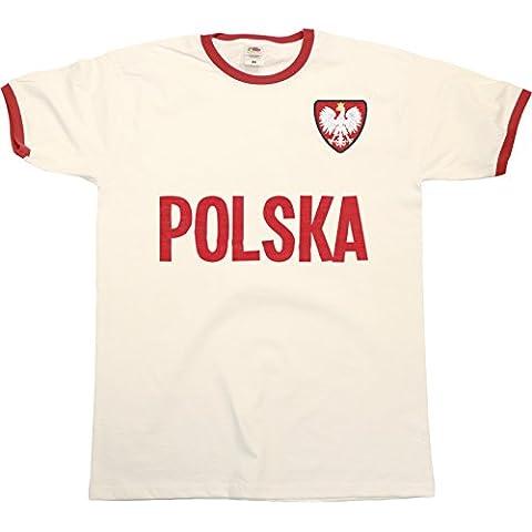 Mens Uomo POLSKA Poland Polonia NAME Ringer Retro T-Shirt Sports Football Patriotic