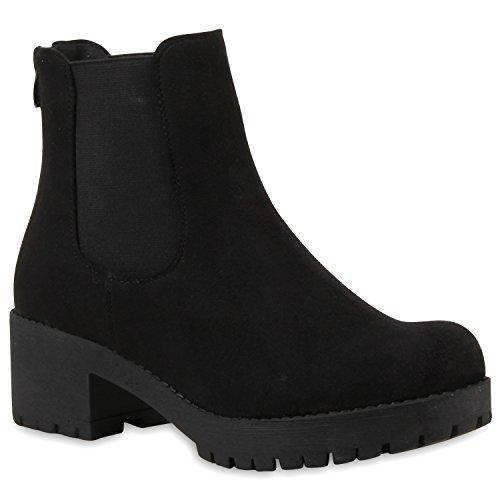 Damen Chelsea Boots Blockabsatz Plateau Stiefeletten Lederoptik Schwarz
