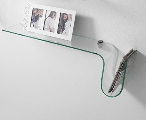 Wink design, oxnard, mensola da muro o parete, vetro, trasparente