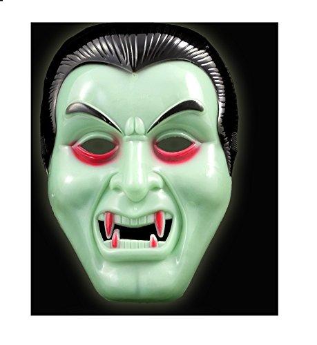 Girm® - s7316 maschera a forma di dracula fosforescente per halloween. maschera dracula, maschera per halloween, travestimento dracula, maschera per feste a tema, dracula maschera, maschere per hallow