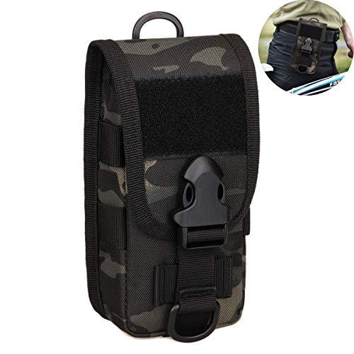 Selighting Taktisch Handytasche Wasserdicht Militär Hüfttasche Gürteltasche Molle Tasche für Airsoft Wandern Trekking Outdoor Sport (Camo schwarz)