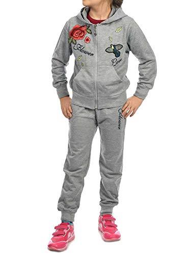Kinder Mädchen Sport-Anzug Sweat-Jacke Pullover Langarm-Shirt Freizeit-Hose (3 TLG. Set) 30017 Grau 140