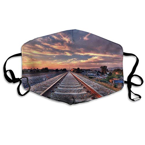 Daawqee Maschera,Bocca Maschera, Train Relaxing Railroad Tracks Unisex Fashion Mascherina Washable Safety 100% Polyester Comfortable Breathable Health Half Face Masks