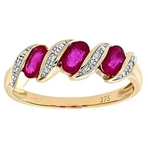 Naava Women's Ruby and Diamond Eternity Ring, 9 ct Yellow Gold, Pave Set, Round Cut, 0.02 ct Diamond Weight, Ring