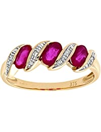 Naava Women's 9 ct Yellow Gold Diamond and Ruby Ring Eternity Ring