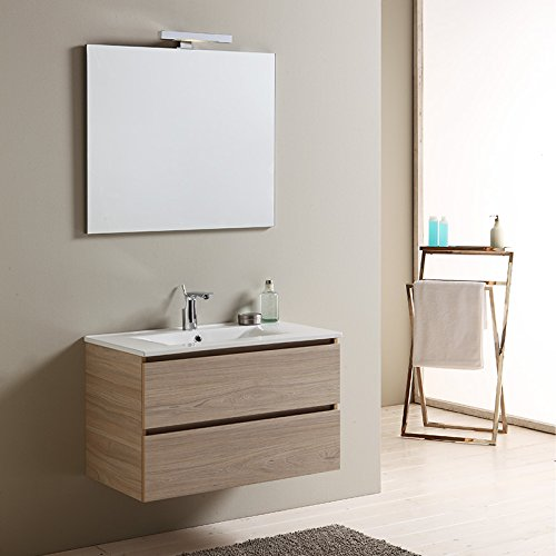 Mobile bagno 80 cm con cassetti berlin olmo leone lavabo in ceramica